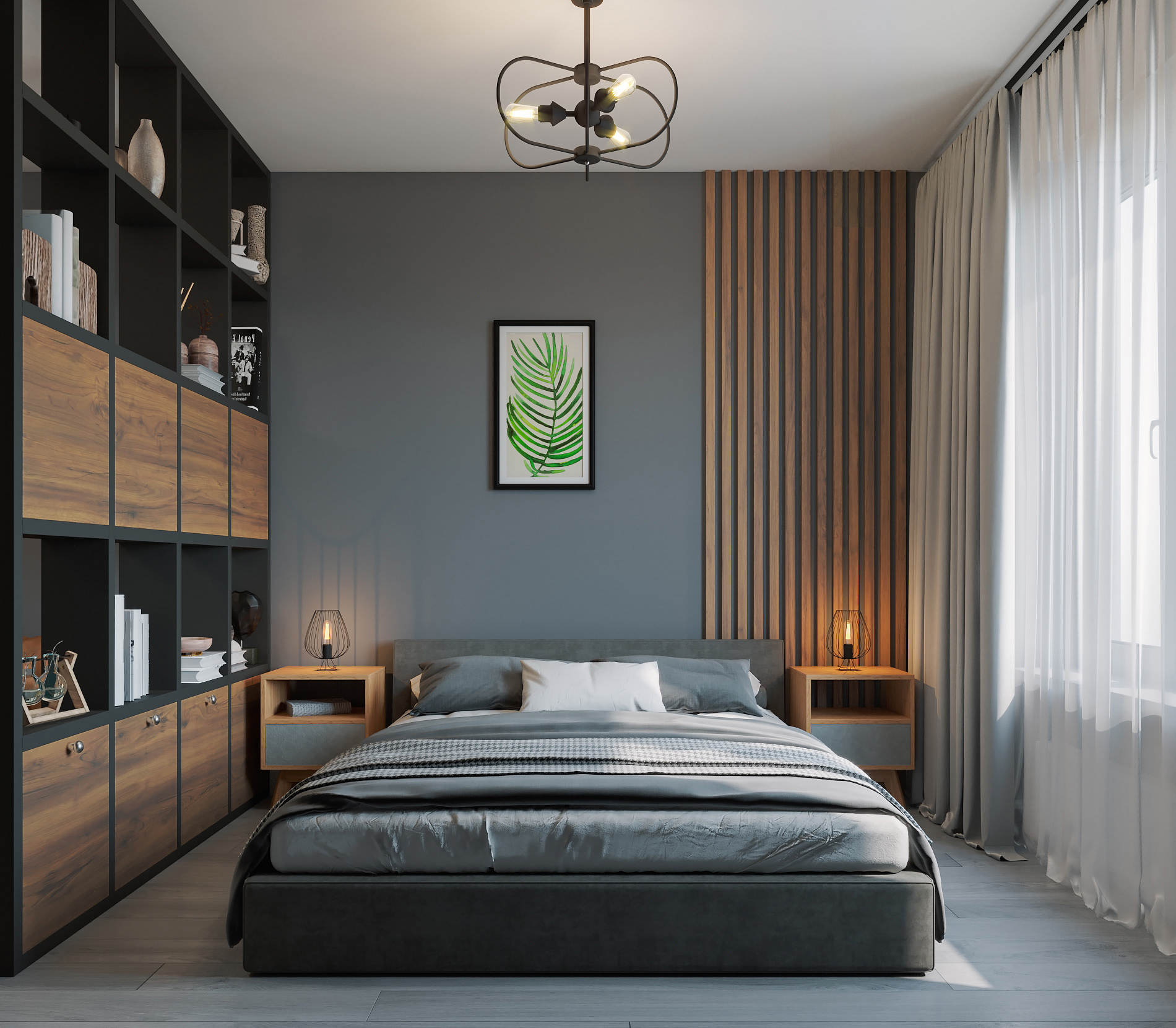 двуспальная кровать в интерьере
