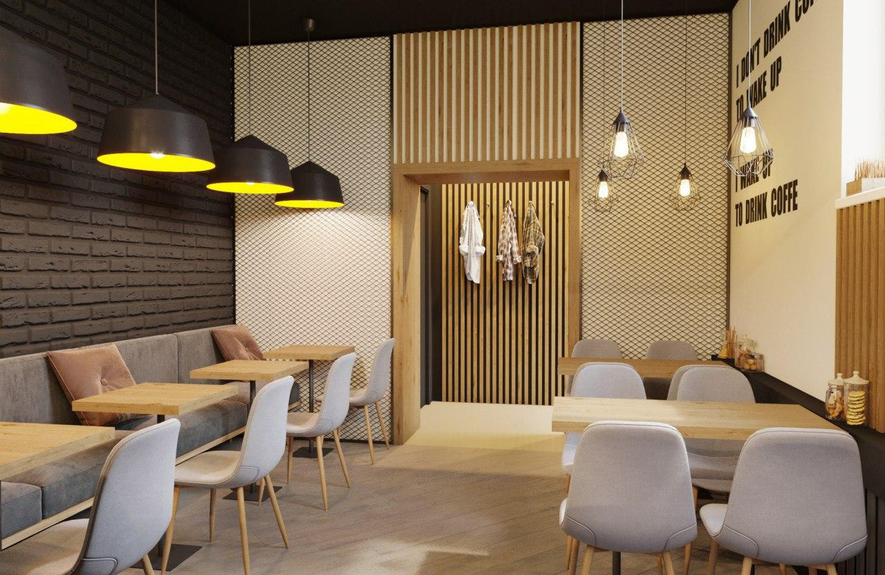 интерьер зала кофейни